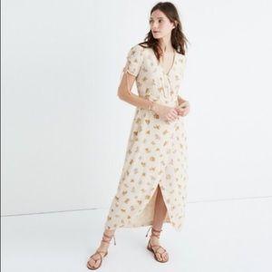 NWT! Madewell Silk Floral Faux-Wrap Maxi Dress